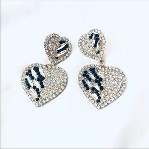 New Rhinestone heart earrings: sweetheart pattern